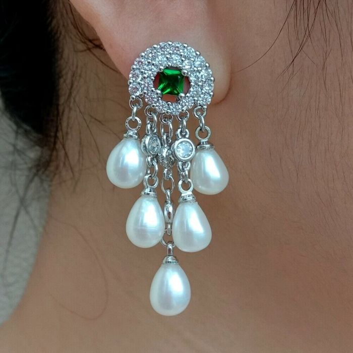 18k gold plated Freshwater White Rice Pearl Cz Pave Setting Dangle StudEarrings