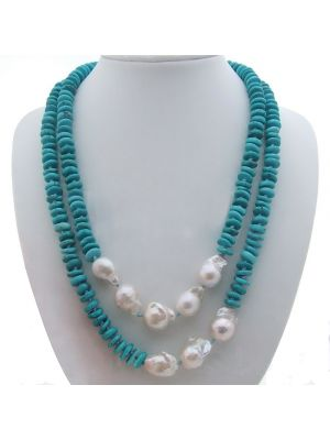 19/'/' 3 Rows Blue Agate Necklace White Keshi Pearl CZ Flower Pendant